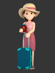 3d render of an adult female with a luggage and passport