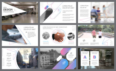 White and gradient design elements for slide templates