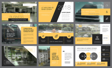 Yellow and black design elements for presentation slide template