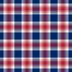Patriotic Tartan  of White , Blue, Red Seamless Patterns.