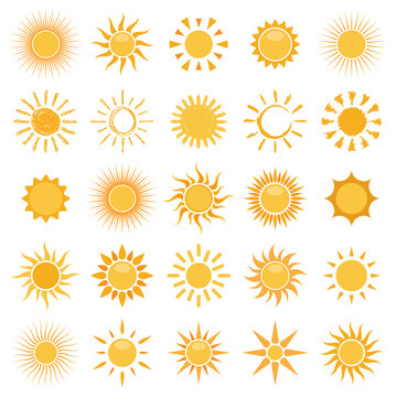 vector collection of sun icons on white background