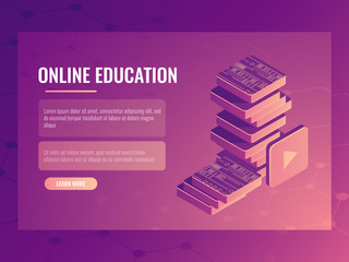 Online education banner, isometric vector electronic courses and tutorials, digital books