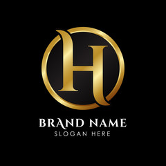 luxury letter H logo template in gold color. Royal premium logo template vector