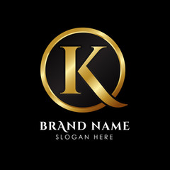 luxury letter K logo template in gold color. Royal premium logo template vector