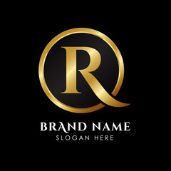 luxury letter R logo template in gold color. Royal premium logo template vector
