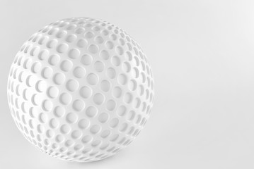 White sphere on white background. 3d render