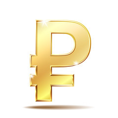 Golden symbol of russian ruble
