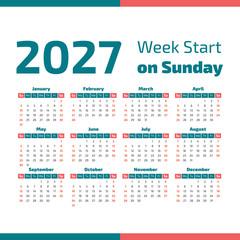 Simple 2027 year calendar
