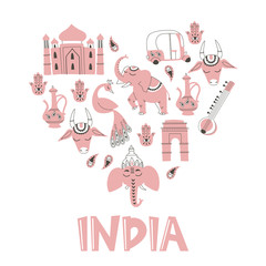 Heart Shape Collection of India Hand Drawn Elements and Lettering.