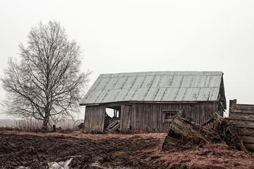 Barn House On The Rainy Fields