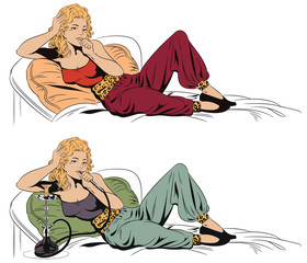 Girl resting with a hookah. Stock illustration.