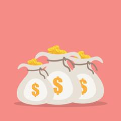 Money saving and money bag, vector illustration