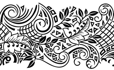 Seamless tribal black and white border