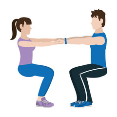 fitness woman and man doing squats training