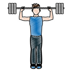 doodle fitness man lifting weights training