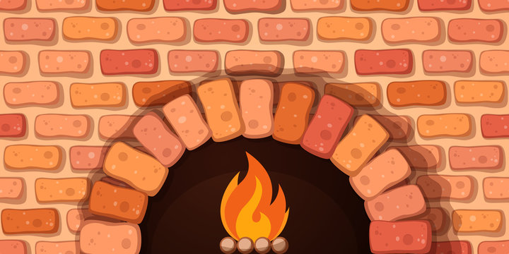 Oven, bonfire, stove - cartoon illustration Vector eps 10