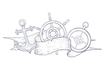 Anchor, steering wheel and compass. Decorated with blank ribbon banner. Hand drawn sketch