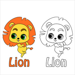 Coloring page for kids. Vector lion.