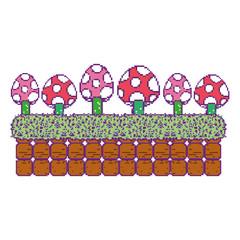 pixel fungus plant in glass wall scene