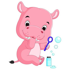 hippo playing bubble water