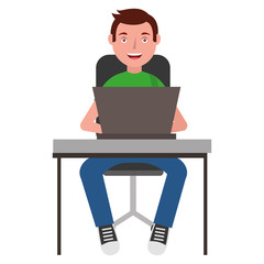 man with desk and laptop computer isolated icon vector illustration design