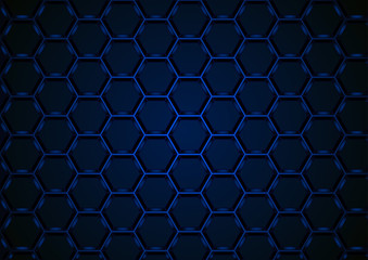 Blue Hexagonal Structure on Dark Background - Abstract Illustration with 3D Effect, Vector