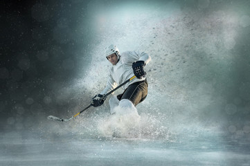 Caucassian ice hockey Players in dynamic action