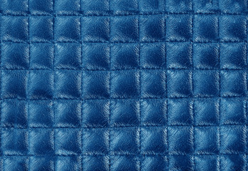blue leather texture colose-up with linear stiches