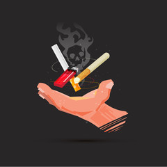 Hand with cigarette and lighter. dead smoke symbol in background. smoking kill concept - vector