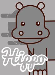 hippo cartoon poster african animal vector illustration