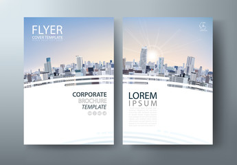 Flyer design, City landscape image. Leaflet cover presentation, book cover template vector, layout in A4 size.