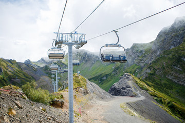 Photo of funicular at mountainside, road