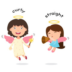 Opposite curly and straight vector illustration