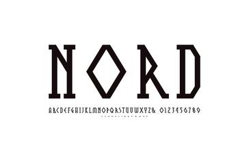 Decorative geometric narrow slab serif font