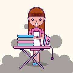 laundry cleaner girl cartoon ironing board vector illustration