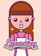 laundry cleaner girl cartoon cleaner character vector illustration