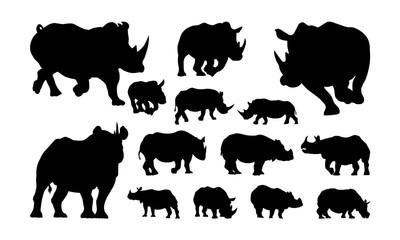 Set of Rhino silhouette, Animal Silhouette