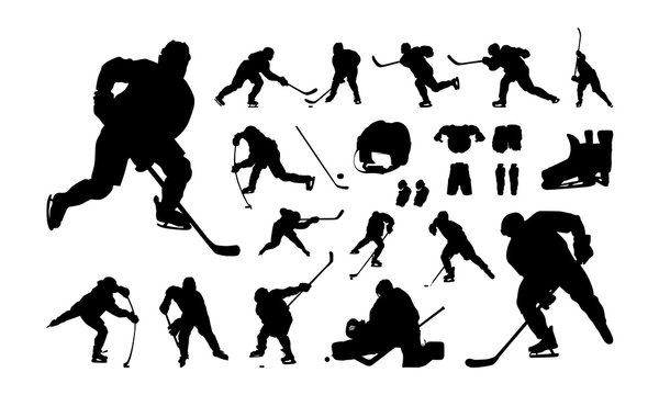 Set of Hockey Player silhouette