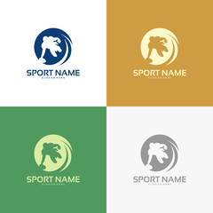 Set of American football player logo silhouette, American Football iconic logo