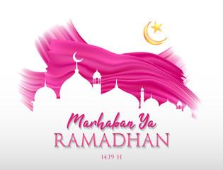 Marhaban Ya Ramadhan background vector. Ramadhan 1439 H background vector.