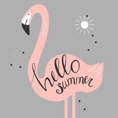 Hello summer.  Vector illustration with flamingo