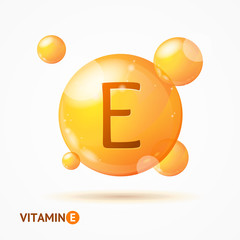 Realistic Detailed 3d Vitamin E Background Card. Vector