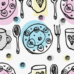 Seamless pattern with kitchen tools : plate, cup, pan. Hand drawn vector ornament.
