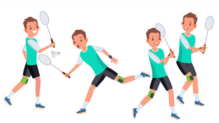 Badminton Male Player Vector. In Action. Racket. Modern Sport, Hobby. Holding Shuttlecock. Cartoon Character Illustration