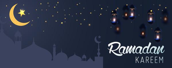 Ramadan Kareem horizontal vector banner, text in middle with lantern and Mosque. Ramadan Kareem ads, flyer, invitation, greeting card. Islamic background.