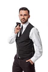 handsome elegant sexy man in suit