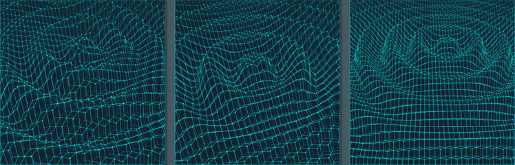 Rippled background template. Abstract science or technology illustration. 3D grid surface. Can be used for wallpaper, presentation, banner and cover.