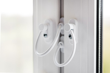 Children  window protection lock. Cable safety guard prevent of opening window by child. Prevention of falling accident