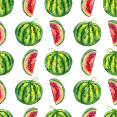 Seamless watercolor watermelons pattern, slices and whole, hand drawn painting illustration isolated on white background, exotic berry, tropical fruit texture for design wallpaper, textile, cosmetic