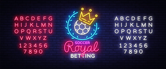 Betting Soccer neon sign. Football betting logo in neon style, Royal concept, light banner, bright night betting sports advertisement, design element gambling, casino. Vector. Editing text neon sign